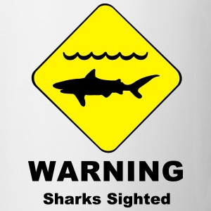 Warning Sharks Sighted Symbol Mugs & Drinkware - Mug