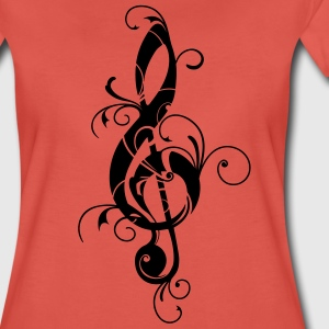 Clef, note, sheet, music, musical, notes, classic T-shirts - Dame premium T-shirt