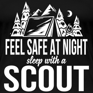 Feel safe at night, sleep with a scout T-shirts - Vrouwen Premium T-shirt