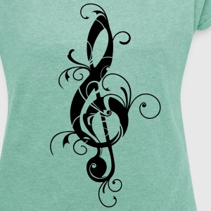 Clef, note, sheet, music, musical, notes, classic T-shirts - T-shirt med upprullade ärmar dam