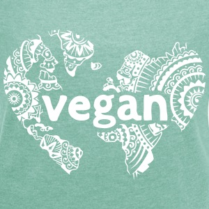 Vegan World T-Shirts - Frauen T-Shirt mit gerollten Ärmeln