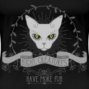 cat__night_creatures_have re_fun_03201 T-Shirts - Frauen Premium T-Shirt