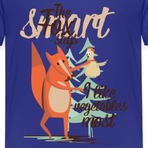 The smart Fox says - I like vegetables most T-Shirts - Kinder Premium T-Shirt