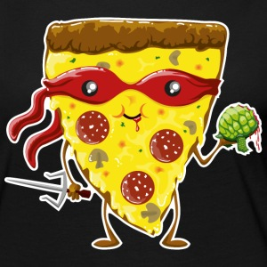 Black Ninja Pizza eats turtle Long Sleeve Shirts - Women's Premium Longsleeve Shirt