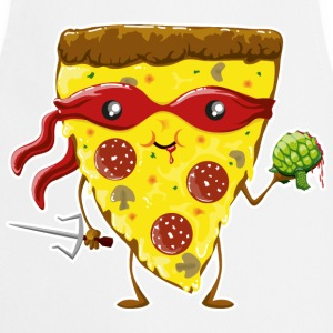 White Ninja Pizza eats turtle  Aprons - Cooking Apron