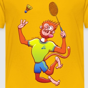 Red Monkey Playing Badminton Shirts - Kids' Premium T-Shirt