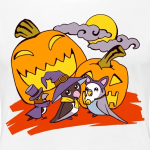 Cute birds halloween party illustration - Women's Premium T-Shirt