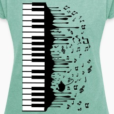 Piano music Women's T-shirt with rolled up sleev
