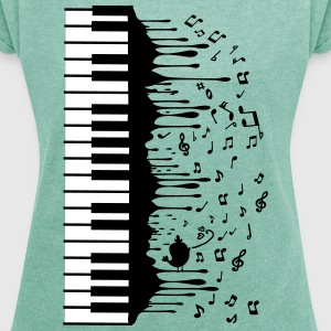 Piano music Women's T-shirt with rolled up sleev - Women's T-shirt with rolled up sleeves
