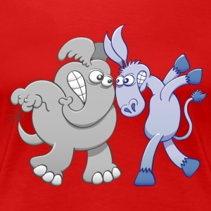Elephant and Donkey Confronting Face to Face T-Shirts - Women's Premium T-Shirt