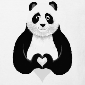Cute Panda Heart Hand Sign Shirts - Kinderen Bio-T-shirt