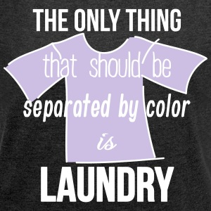 laundry separated color T-Shirts - Frauen T-Shirt mit gerollten Ärmeln