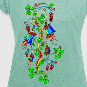 Bellflower, summer, flowers, spring, design T-Shirts - Women's T-shirt with rolled up sleeves
