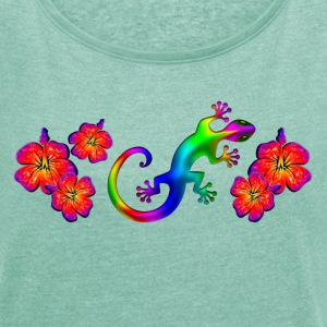 Gecko, hibiscus, aloha, summer, surfing, lizard T-Shirts - Women's T-shirt with rolled up sleeves
