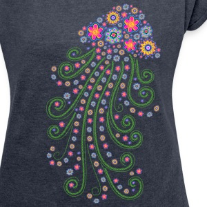 Jellyfish, flower of the sea, summer, diving, T-Shirts - Women's T-shirt with rolled up sleeves