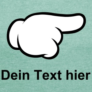 Comic Hand Pointing (Right) T-Shirts - Frauen T-Shirt mit gerollten Ärmeln