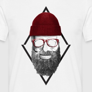 Red Hipster Skull Tee shirts - T-shirt Homme