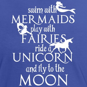 Mermaids, Fairies, Unicorn, Moon T-shirts - Kontrast-T-shirt dam