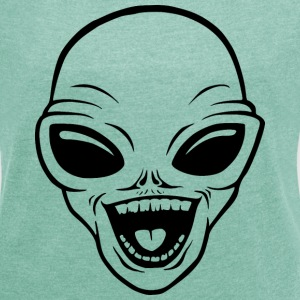 Happy Alien T-Shirts - Women's T-shirt with rolled up sleeves
