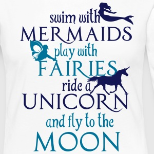 Mermaids, Fairies, Unicorn, Moon Manga larga - Camiseta de manga larga premium mujer