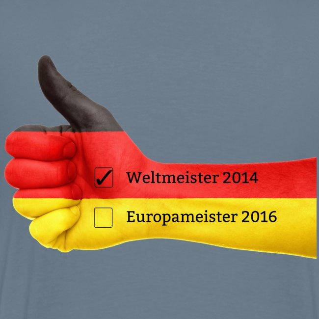 Männer Premium T-Shirt Deutschland Europameister 2016 Blaugrau, hinten bedruckt