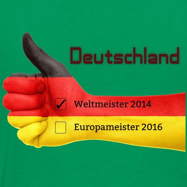 "Männer Premium T-Shirt ""Daumen hoch"" Deutschland Europameister 2016 Kelly Green, hinten bedruckt"