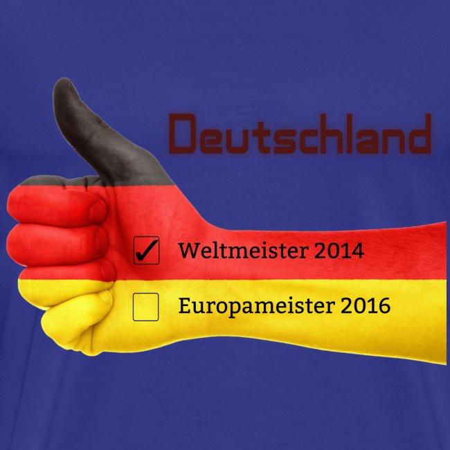 """Männer Premium T-Shirt """"Daumen hoch"""" Deutschland Europameister 2016 Königsblau"""