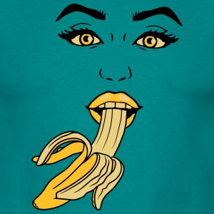 open peeled banana eating delicious sexy hot blow  T-Shirts - Men's T-Shirt
