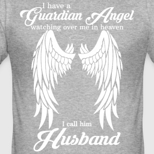 My Husband Is My Guardian Angel she Watches Over  T-Shirts - Men's Slim Fit T-Shirt
