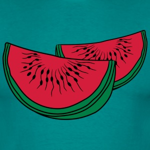 melon slices 2 pieces few watermelon eating delici T-Shirts - Men's T-Shirt