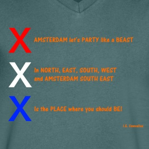 AMSTERDAM let's Party like a BEAST - Mannen T-shirt met V-hals