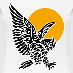 Great horned owl tribal tattoo - Women's Premium T-Shirt