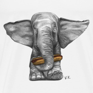 Elephant Eating Hotdog T-Shirt - Men's Premium T-Shirt