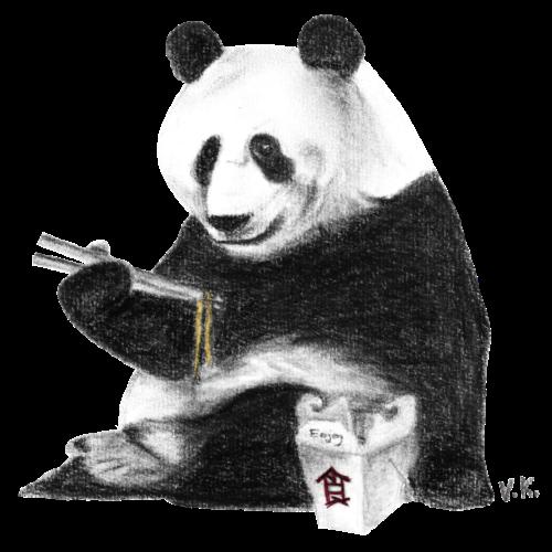 Panda Eating Noodles