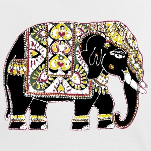 Beautifully decorated Indian elephant for luck - Women's Ringer T-Shirt