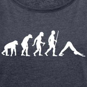 Evolution Yoga (Adho Mukha Svanasana) T-Shirts - Women's T-shirt with rolled up sleeves