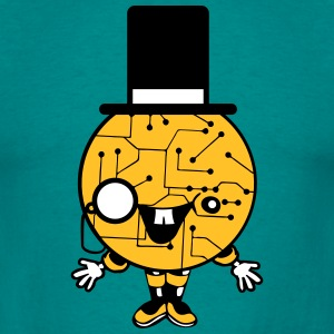 robot sir mr gentlemen cylindrical hat glasses mon T-Shirts - Men's T-Shirt