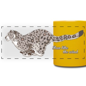 Snow Leopard Running Mugs & Drinkware - Full Color Panoramic Mug