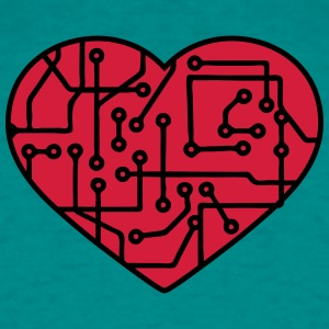 heart, love circuitry electrically disk microchip  T-Shirts - Men's T-Shirt