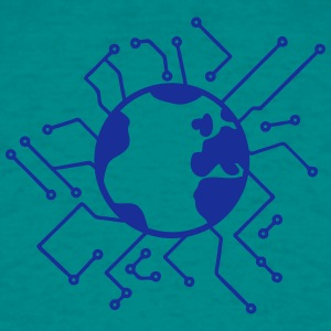 earth planet home blue sphere electric electronic  T-Shirts - Men's T-Shirt