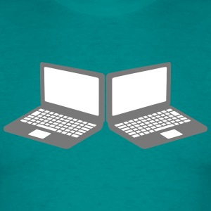 2 laptops lan party multiplayer notebook tablet-co T-shirts - Mannen T-shirt