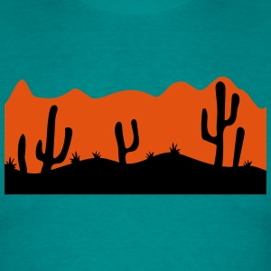 desert evening night sunset sunrise kakten cactus  T-Shirts - Men's T-Shirt