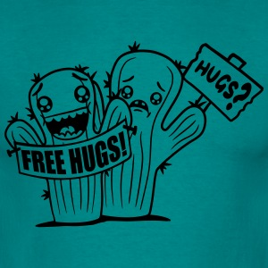 team 2 buddies sign sad comic cartoon face hug hug T-Shirts - Men's T-Shirt