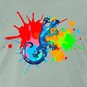 Space Gecko, Lizard, Color, Splash, Festival T-shirts - Herre premium T-shirt