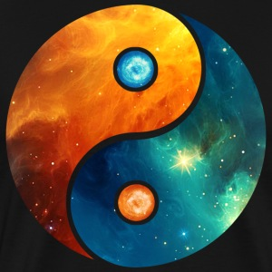 Yin Yang elements, space, cosmos, universe, star T-shirts - Herre premium T-shirt