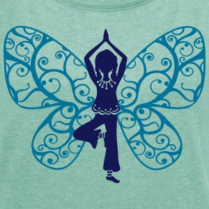 Yoga fairy, butterfly wings, girl, Asana, teacher Tops - Women's T-shirt with rolled up sleeves