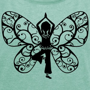 Yoga girl, butterfly wings, fairy, asana, teacher Tops - Women's T-shirt with rolled up sleeves