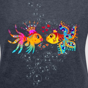 FiSH IN LOVE, Bubbles, Sea, Ocean, Holiday, Surf Tops - Women's T-shirt with rolled up sleeves
