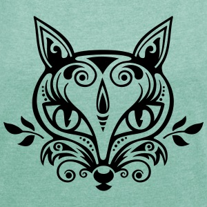 Fox What does the fox say? forest spring summer Tops - Women's T-shirt with rolled up sleeves