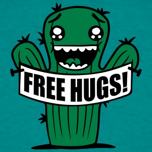 free hugs hugs hugz prikstok gratis comic cartoon  T-shirts - Mannen T-shirt